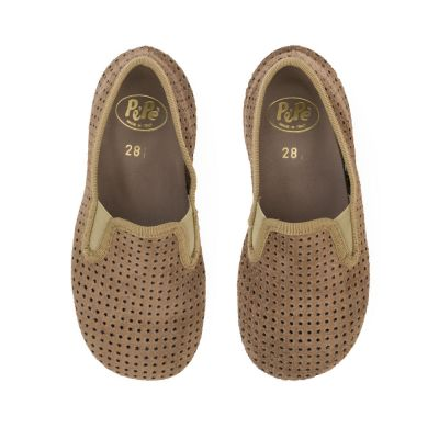 Suede Leather Slippers Beige by Pepe Children Shoes