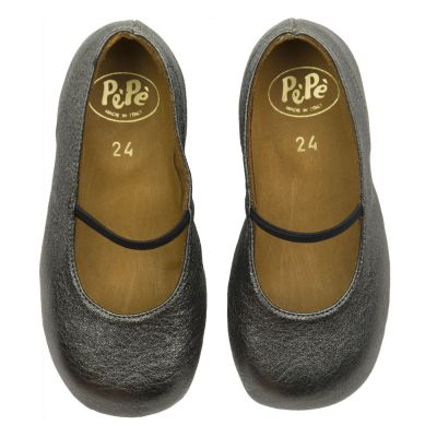 Leather Slippers Anthracite by Pepe Children Shoes