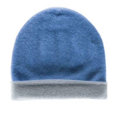 Reversible Cashmere Hat Simplex Light Blue/Grey by Warm-Me