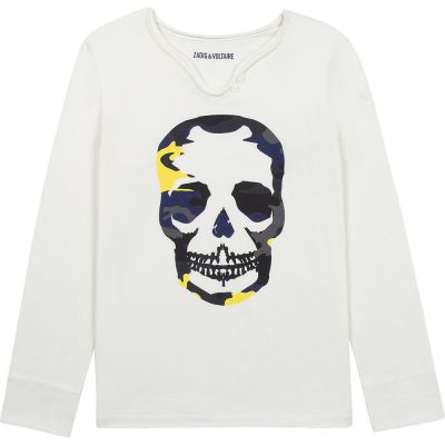 T-Shirt Boxer Ivory with Skull Print by Zadig & Voltaire