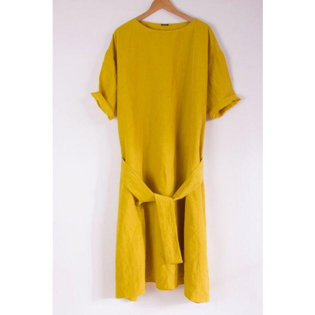 Wide Linen Dress Lemon by ApuntoB