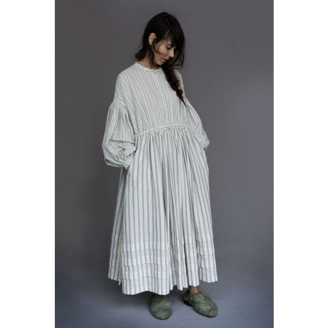 Organic Cotton Dress Aubrey Ivory Black Stripes by Ecole de Curiosites