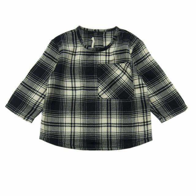 Soft Cotton Baby Shirt Black Natural Check by Babe & Tess