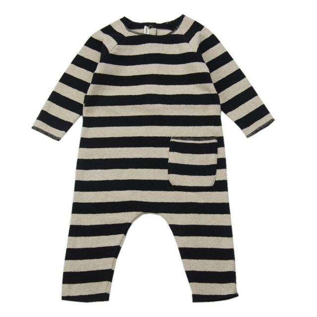 Soft Jersey Baby Overall Natural/Black Striped by Babe & Tess