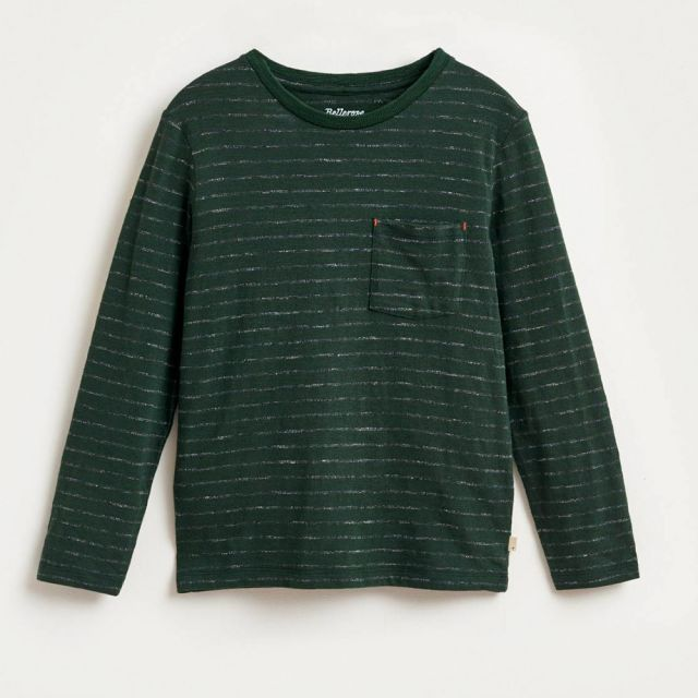 T-Shirt Maldo Green Grey Stripes by Bellerose