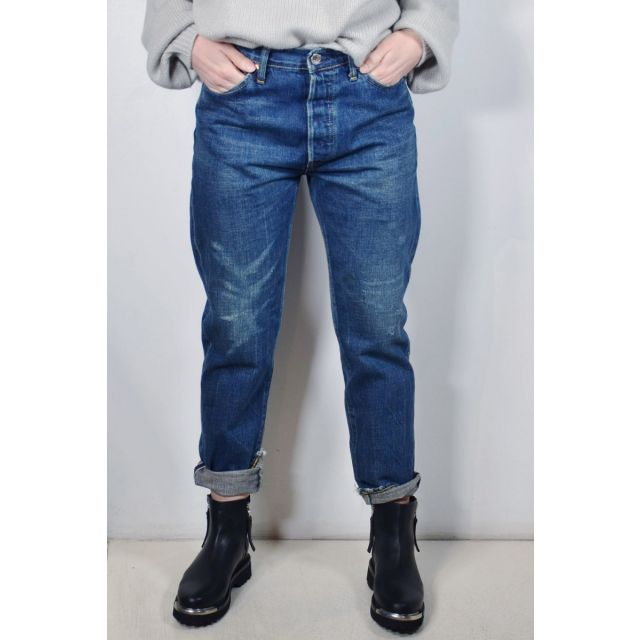 Narrow Tapered Cut Jeans Dark Repair by Chimala