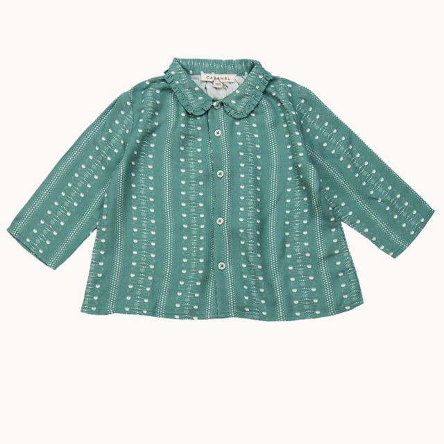 Baby Blouse Tern Teal Dotty Print by Caramel