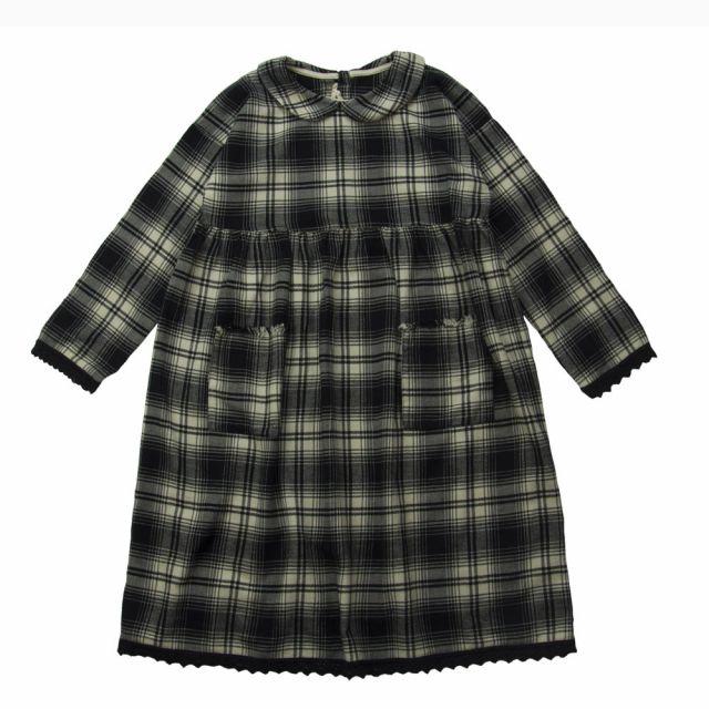 Soft Cotton Dress Black Natural Check by Babe & Tess