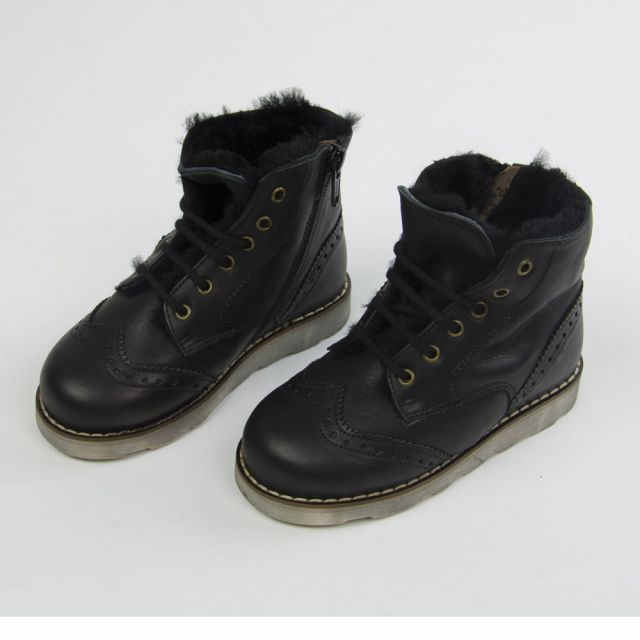 Leather Fur Lined Boots Dublin Black by Pepe Children Shoes