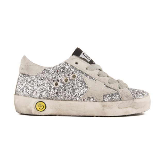 Sneakers Superstar Silver Glitter Suede Grey Star by Golden Goose Deluxe Brand