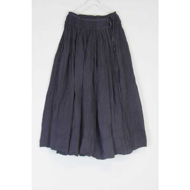 Smocking Wrap Linen Skirt Grey by Kaval