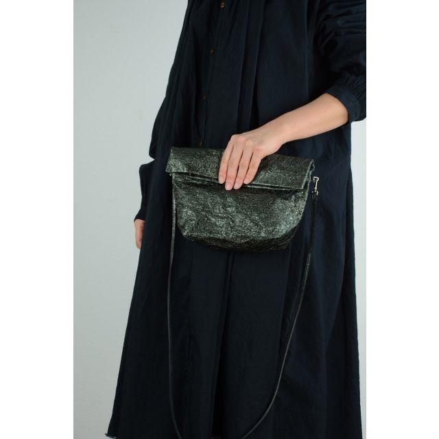 Metallic Leather Shoulder Bag Dark Green by Zilla