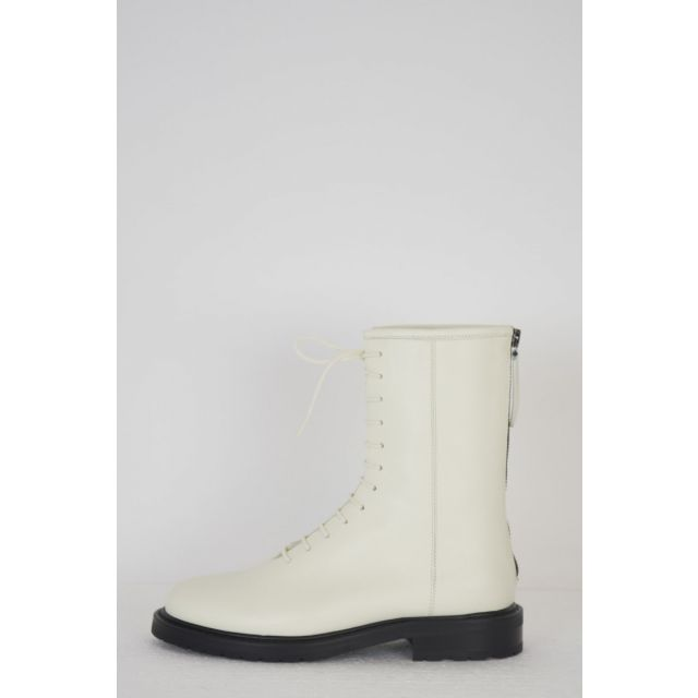 Leather Combat Boots Off-White by LEGRES