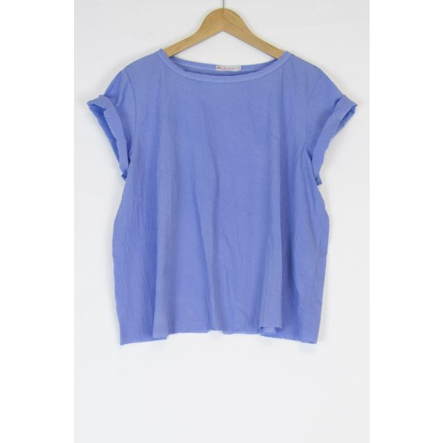 Oversized Japanese Cotton Top Ita Blue by Manuelle Guibal