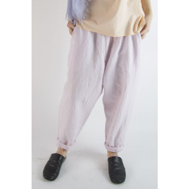 Linen Worker Pant Lisic Light Pink by Manuelle Guibal