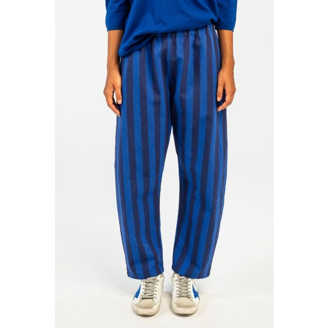 Cotton and Linen Trousers Electric Indigo by ApuntoB