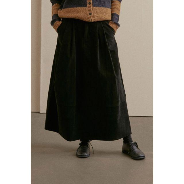 Long Cord Skirt Black by ApuntoB