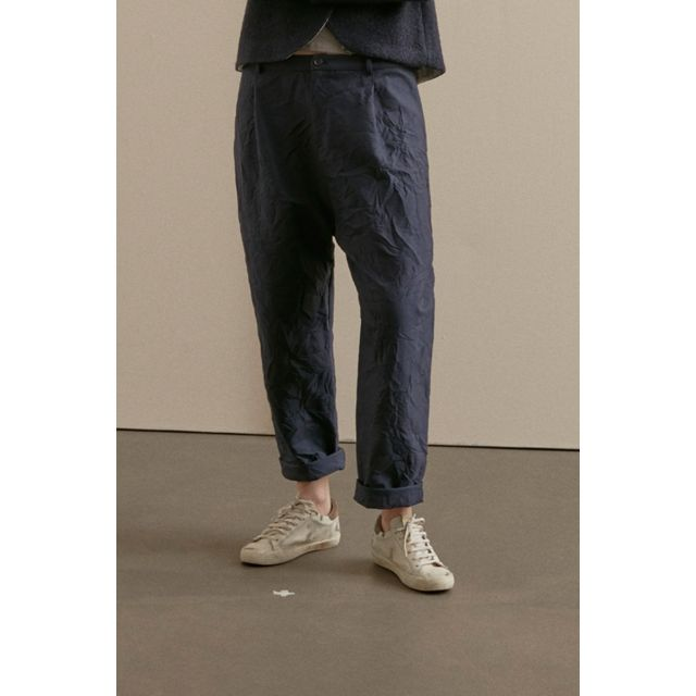 Crinkled Cotton Trousers Blue Grey by ApuntoB