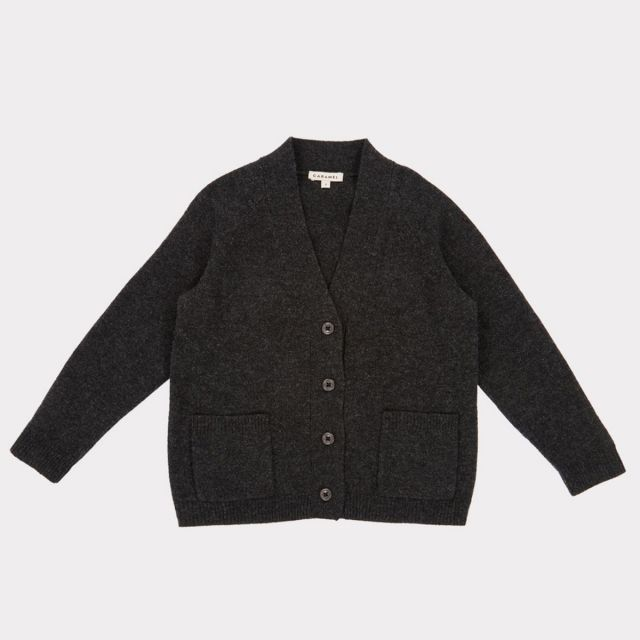 Wool Cardigan Sandpiper Charcoal by Caramel