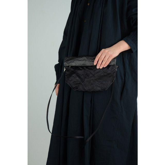 Satin Bicolored Shoulder Bag Anthracite and Black by Zilla
