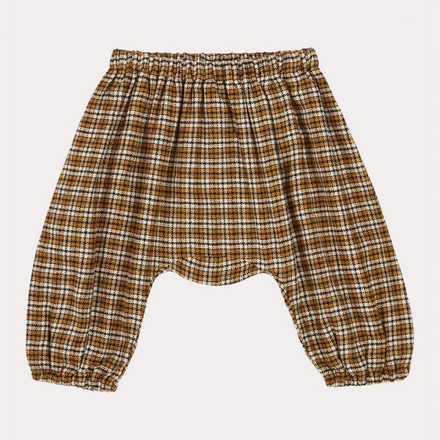 Baby Trousers Woodpigeon Yellow Check by Caramel