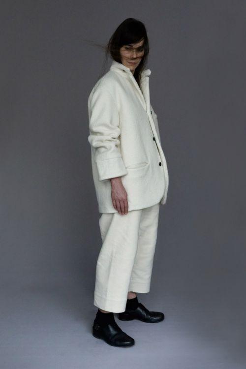 Organic Boiled Wool Jacket Edouard Ivory