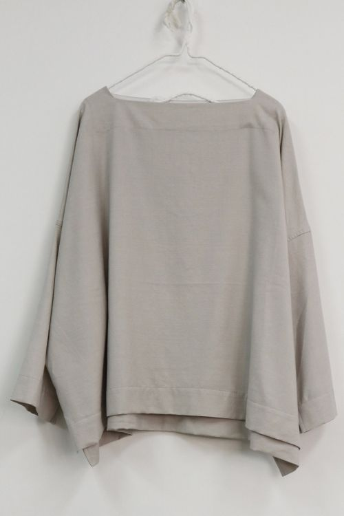 Wool and Silk Oversized Basque Shirt Snow by Toujours-TU