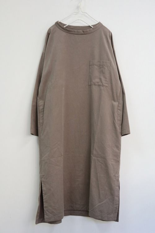 Cotton Twill Big T-shirt Dress Sand Grey by Toujours