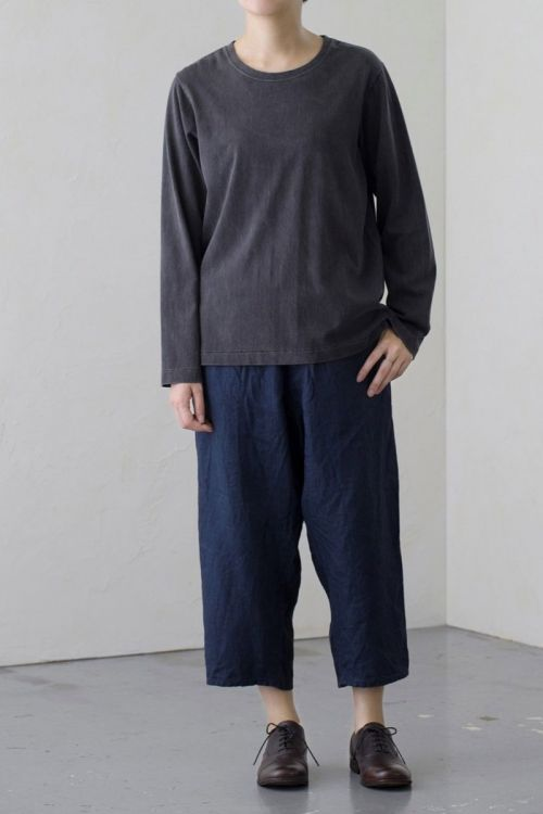 Cotton and Linen Pullover Charcoal by Vlas Blomme