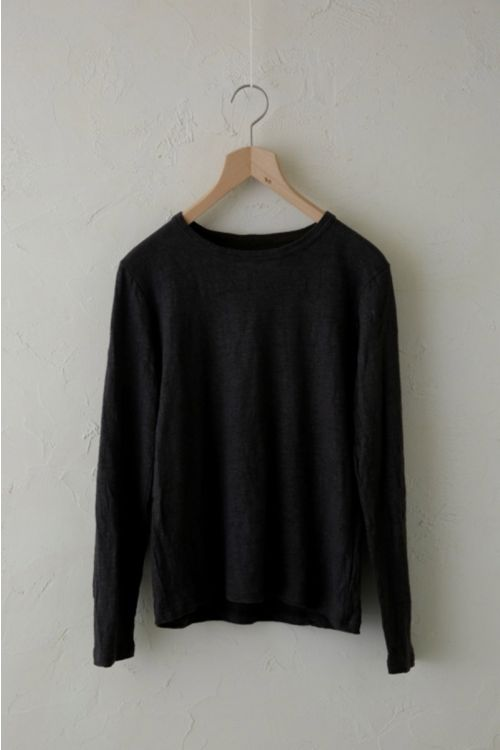 Linen Long Sleeved Shirt Charcoal Brown by Vlas Blomme-S/M