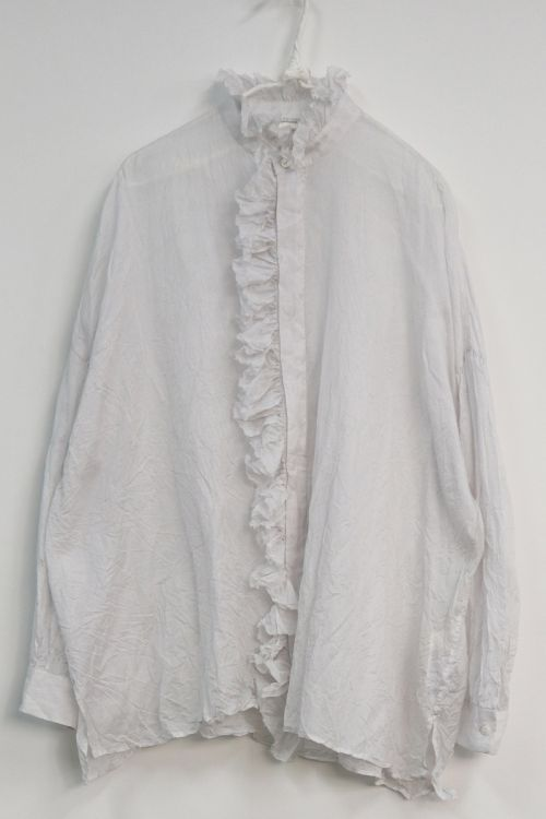 Band Collar Ruffle Wide Shirt Snow White by Toujours-S/M