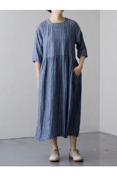 Linen Striped Dress Navy by Vlas Blomme