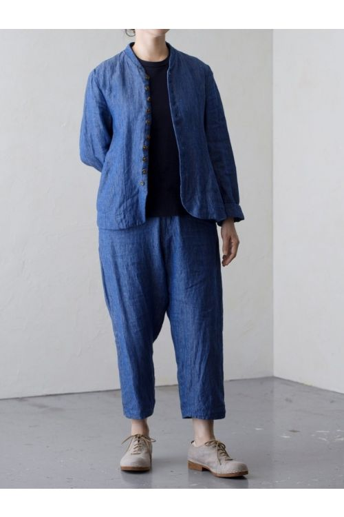 Shadow Stripe Linen Jacket Blue by Vlas Blomme