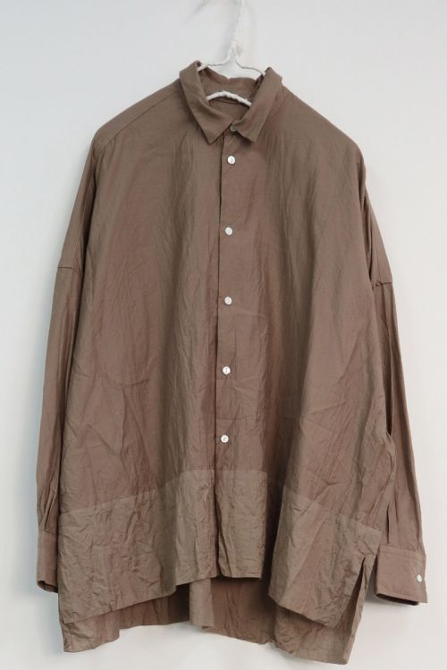 Cotton and Silk Wide Shirt Mocha by Toujours-S
