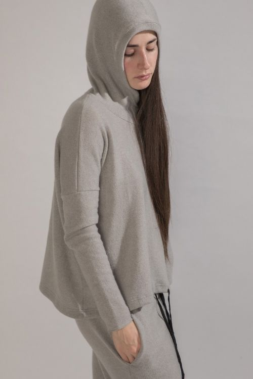 Cashmere Hoodie Light Grey by Album di Famiglia
