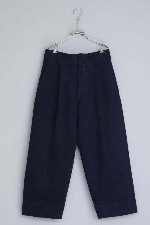 Moleskin Cotton Trousers Paul Dark Navy by Ecole de Curiosites