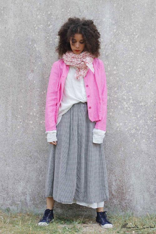 Long Skirt Pico Check Black White by Manuelle Guibal