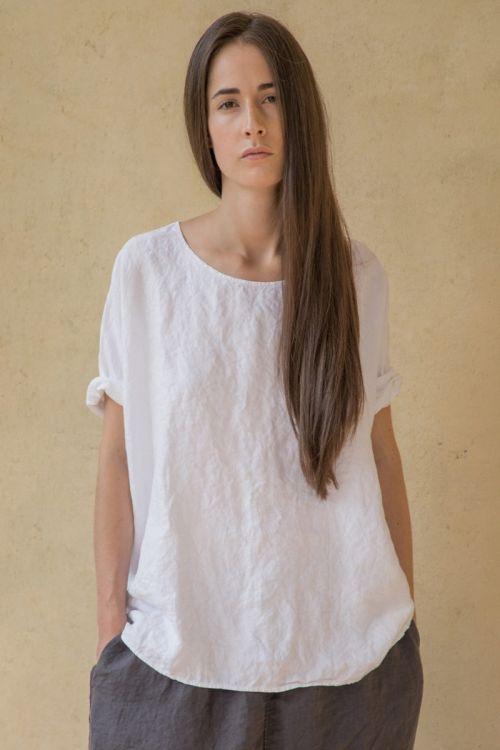 Oversized Linen T-Shirt White by Album di Famiglia-S/M