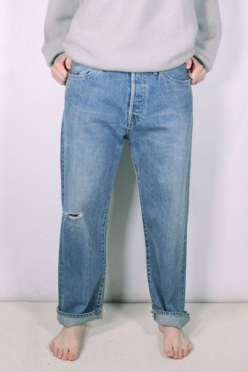 Ankle Cut Light Distress Selvedge Jeans by Chimala