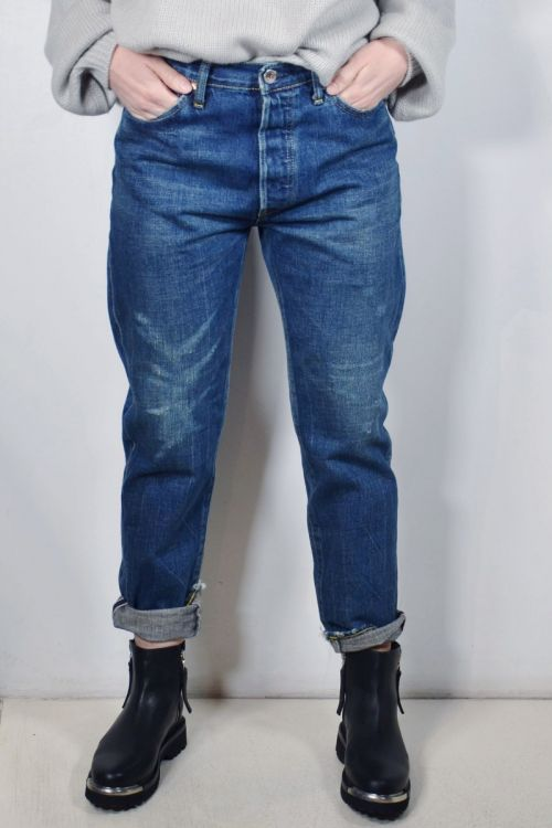 Narrow Tapered Cut Jeans Dark Repair by Chimala