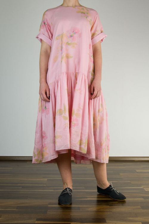 Cotton and Silk Dress with Printed Flowers-S