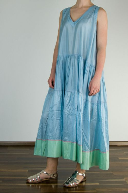 Silk Dress Light Blue with Green Stripe by Pero