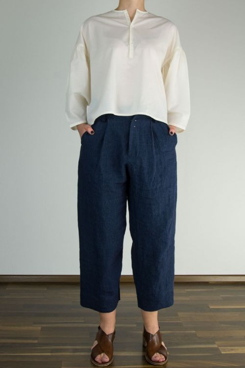 Stonewashed Linen Pants Paul Navy by Ecole de Curiosites