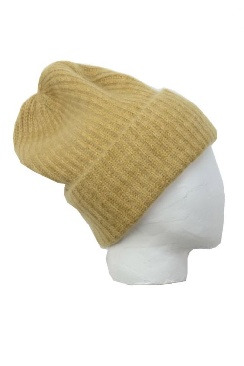 Cashmere Beanie Marius Twisted Ochre by Warm-Me-TU