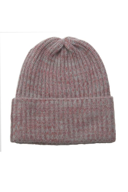 Cashmere Beanie Marius Twisted Red/Grey by Warm-Me-TU
