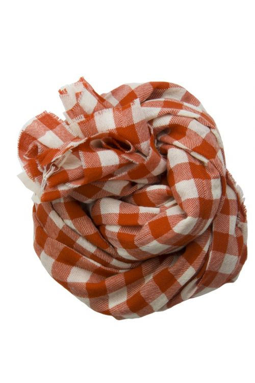 Cashmere Scarf Milk Red Check by ApuntoB-TU