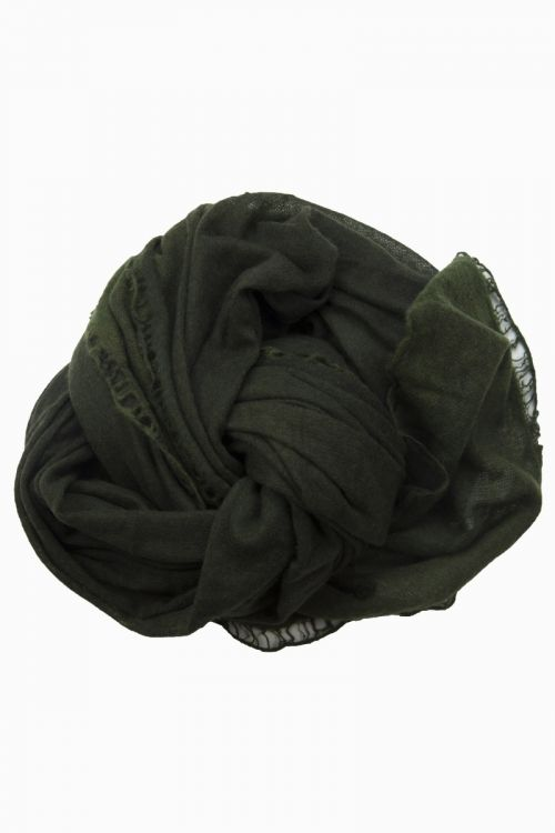 Cashmere Scarf Nomad Flat Dye Dark Green