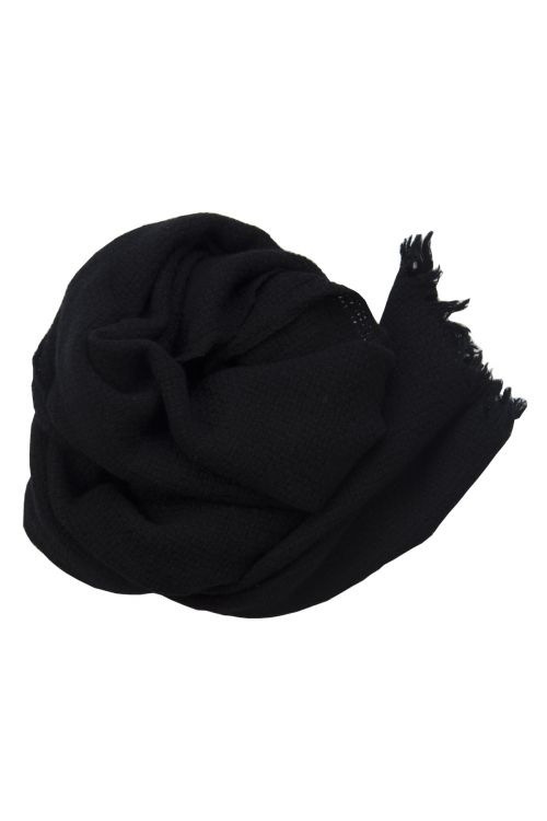 Handwashed Slow Cashmere Scarf Bask Black by Private0204-TU