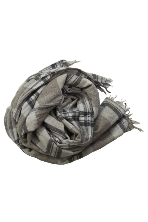 Handwashed Slow Cashmere Scarf Brown Check by Private0204-TU