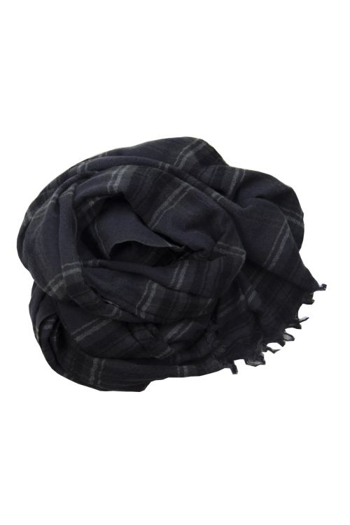 Handwashed Slow Cashmere Scarf Japanese Blue Check by Private0204-TU